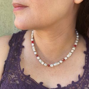 Freshwater Pearl and red & clear Crystal Necklace